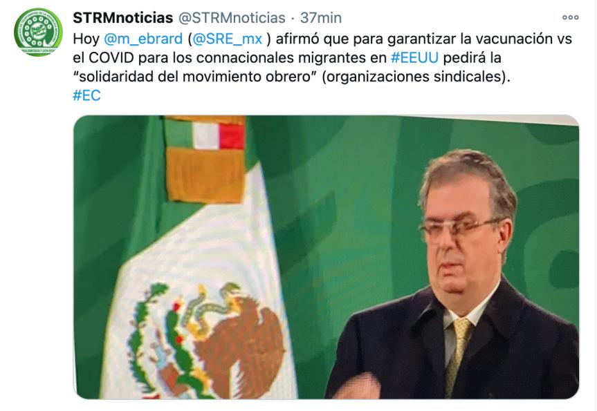 México invocará capítulo del T-MEC para que migrantes reciban la vacuna en EU:Ebrard