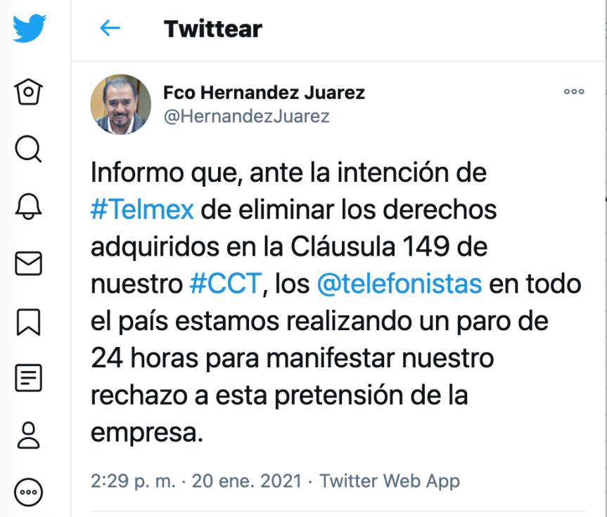 Telefonistas piden mayor disposición a Telmex eIFT