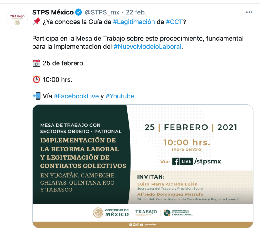 Con encuentros virtuales, STPS impulsará legitimación de contratoscolectivos