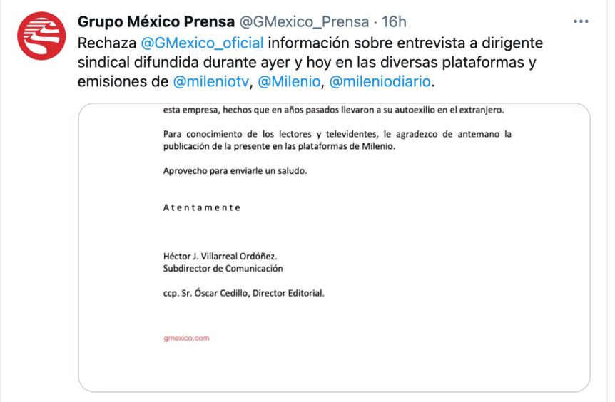 Grupo México rechaza acusaciones de Napoleón GómezUrrutia
