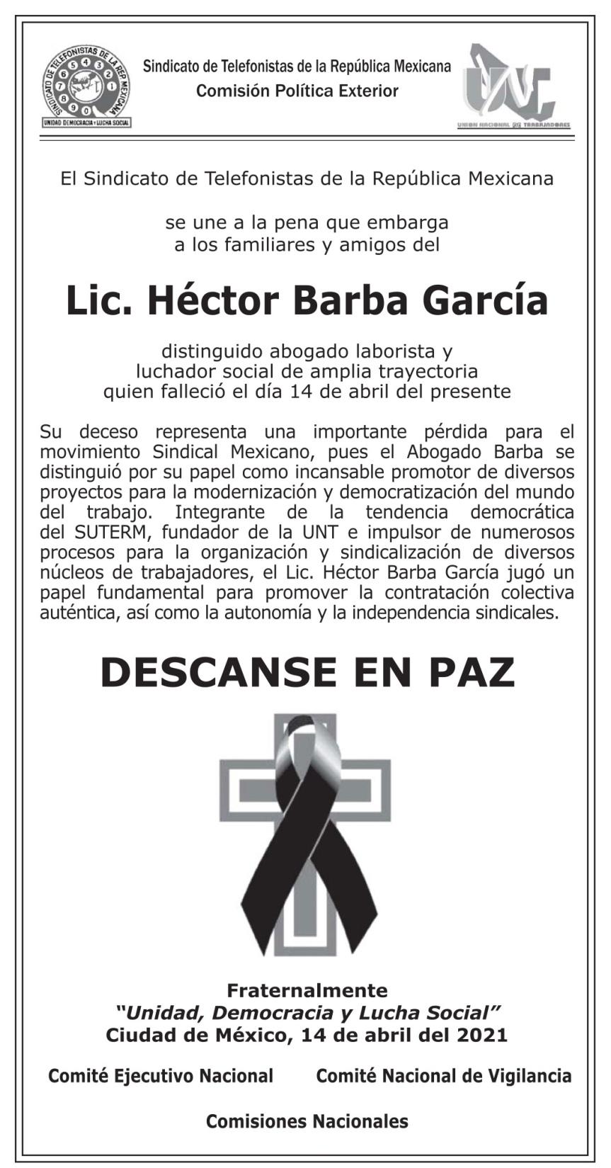 STRM_UNT. Esquela Lic. Héctor Barba García.15.04.2021