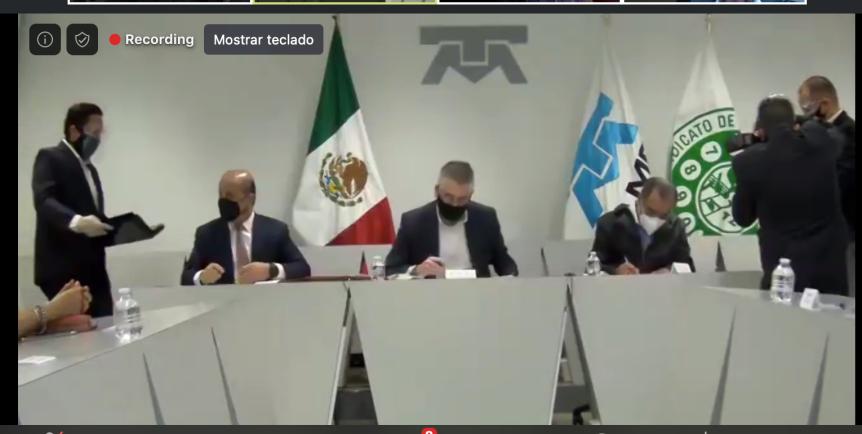 Firma de Convenio STRM-Telmex.  Revisión Salarial2021-2022